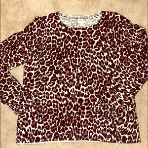 J Crew cheetah light sweater. Size large